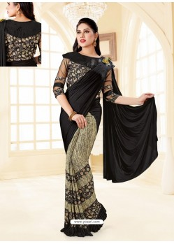 Black Fancy Designer Party Wear Lycra Sari