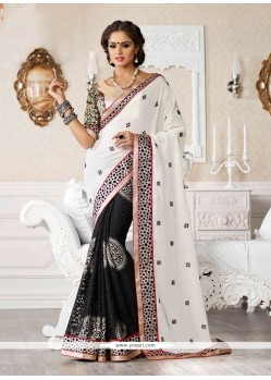 Off White And Black Jacquard Resham Designer Saree