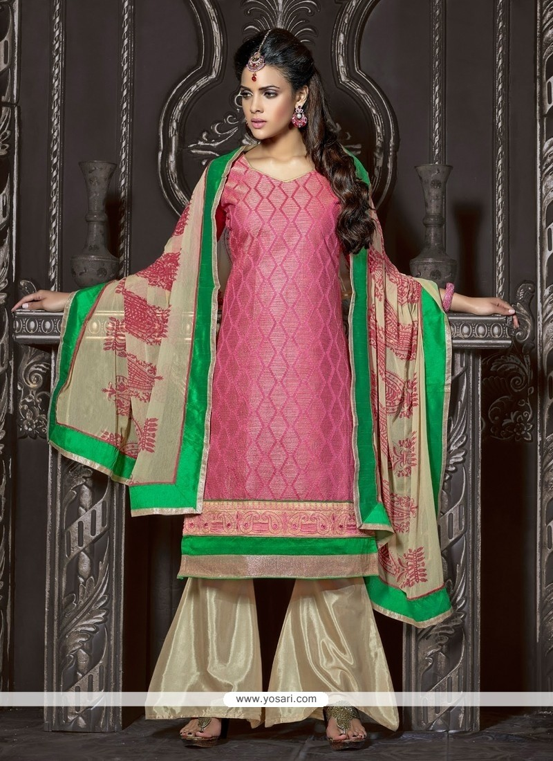 Stunning Pink Chanderi Cotton Palazzo Suit