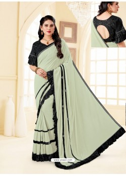 Taupe Fancy Designer Party Wear Lycra Sari