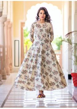 Partywear Designer Cream Pure Maslin Gown