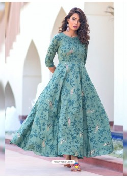 Partywear Designer Sky Blue Pure Maslin Gown