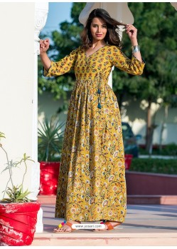 Partywear Designer Yellow Pure Maslin Gown