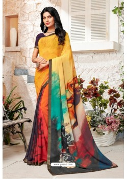 Yellow Designer Casual Wear Georgette Sari