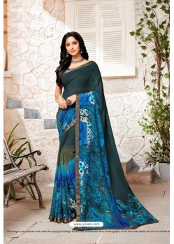 Dark Blue Designer Casual Wear Georgette Sari