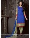 Stylish Blue Chanderi Cotton Churidar Suit