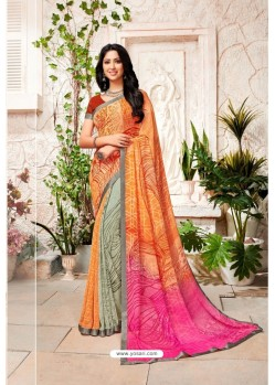 Orange Designer Casual Wear Georgette Sari