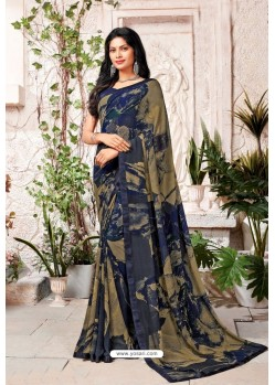 Navy Blue Designer Casual Wear Georgette Sari