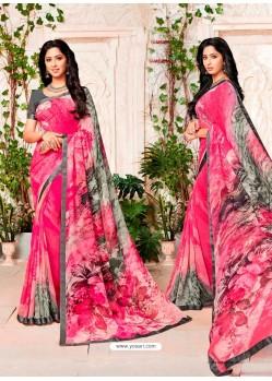 Fuchsia Designer Casual Wear Georgette Sari