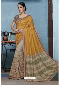 Mustard Designer Party Wear Silk Sari