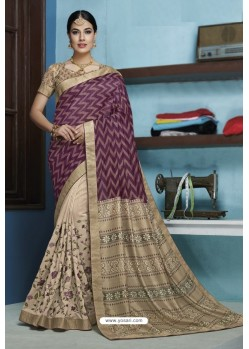 Purple Designer Party Wear Silk Sari
