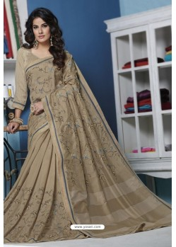 Beige Designer Party Wear Silk Sari