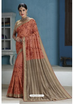 Rust Designer Party Wear Silk Sari