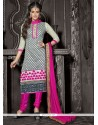 Off White Chanderi Cotton Churidar Suit