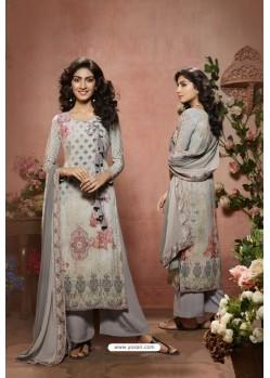 Grey Designer Crepe Digital Printed Palazzo Salwar Suit