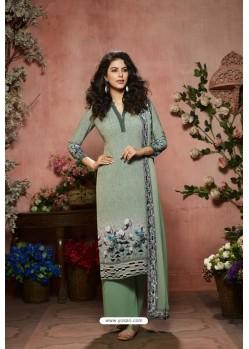 Olive Green Designer Crepe Digital Printed Palazzo Salwar Suit