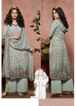 Light Grey Designer Crepe Digital Printed Palazzo Salwar Suit