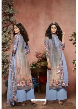 Blue Designer Crepe Digital Printed Palazzo Salwar Suit