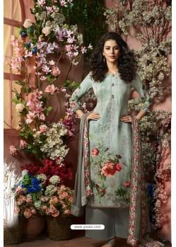 Aqua Grey Designer Crepe Digital Printed Palazzo Salwar Suit