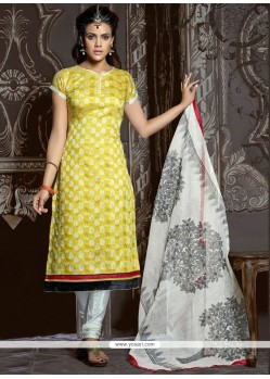 Simplistic Yellow Resham Work Churidar Suit