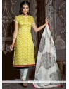 Simplistic Yellow Resham Work Churidar Suit