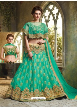Jade Green Cape Patterned Heavy Designer Lehenga Choli