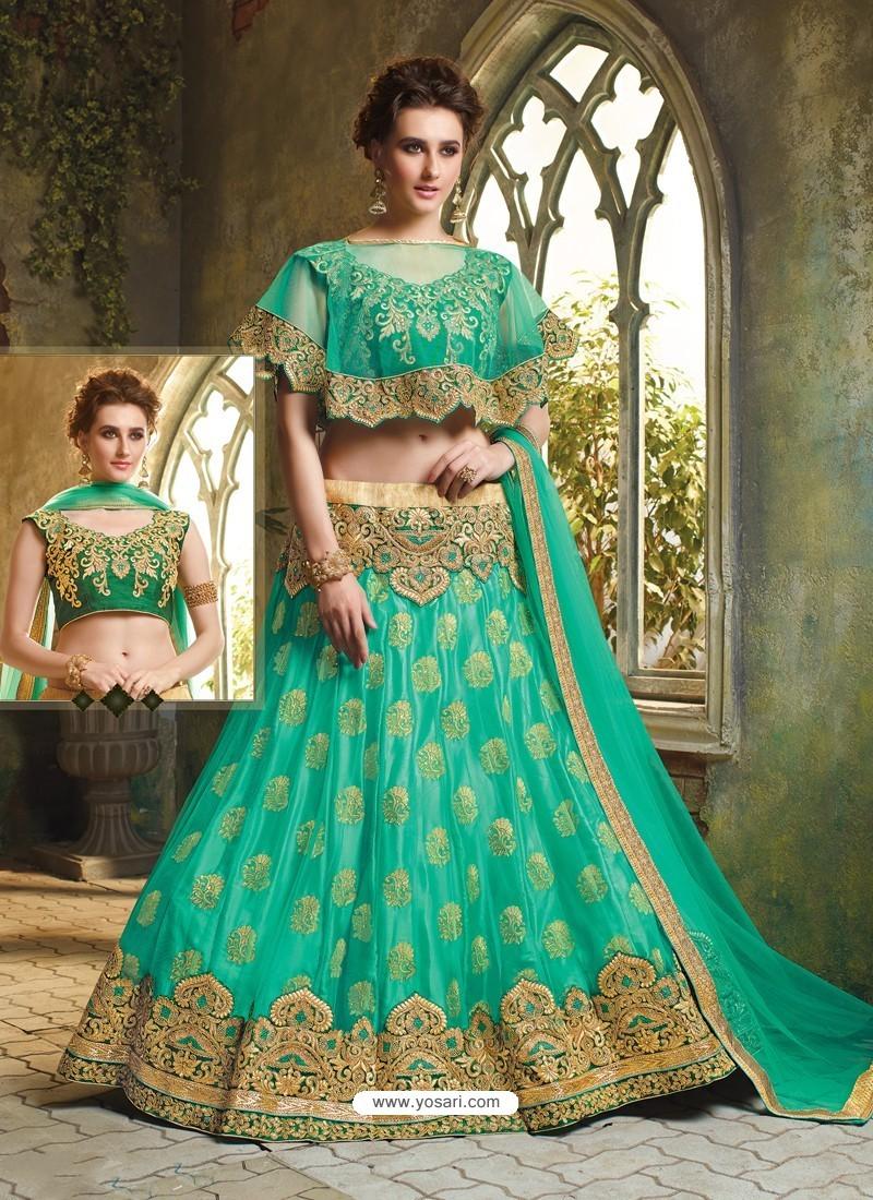 Jade Green Cape Patterned Heavy Designer Lehenga Choli