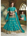 Turquoise Cape Patterned Heavy Designer Lehenga Choli