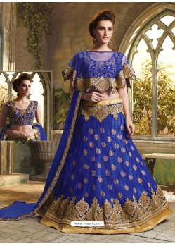 Royal Blue Cape Patterned Heavy Designer Lehenga Choli