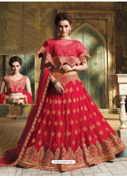 Red Cape Patterned Heavy Designer Lehenga Choli