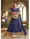 Navy Blue Cape Patterned Heavy Designer Lehenga Choli