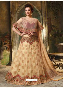 Gold Cape Patterned Heavy Designer Lehenga Choli