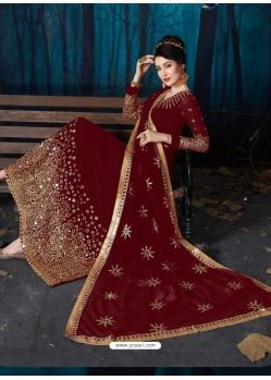 Maroon Heavy Embroidered Faux Georgette Designer Anarkali Suit