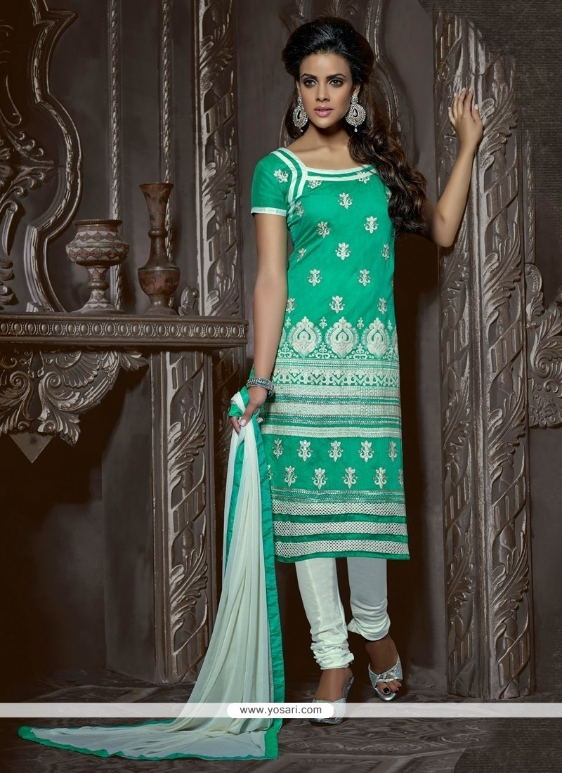 Celestial Green Chanderi Cotton Churidar Suit