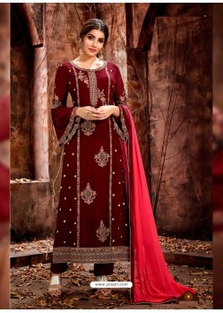 Maroon Heavy Embroidered Georgette Designer Straight Salwar Suit