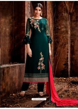 Dark Green Heavy Embroidered Georgette Designer Straight Salwar Suit