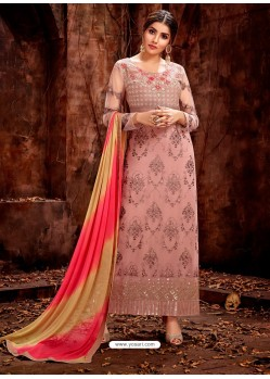 Dusty Pink Heavy Embroidered Georgette Designer Straight Salwar Suit