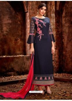 Navy Blue Heavy Embroidered Georgette Designer Straight Salwar Suit