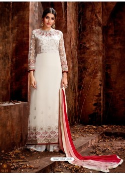 Off White Heavy Embroidered Georgette Designer Straight Salwar Suit