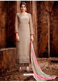 Beige Heavy Embroidered Georgette Designer Straight Salwar Suit