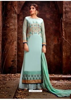 Sky Blue Heavy Embroidered Georgette Designer Straight Salwar Suit