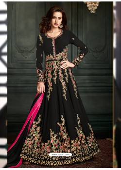 Black Heavy Embroidered Apple Georgette Designer Anarkali Suit