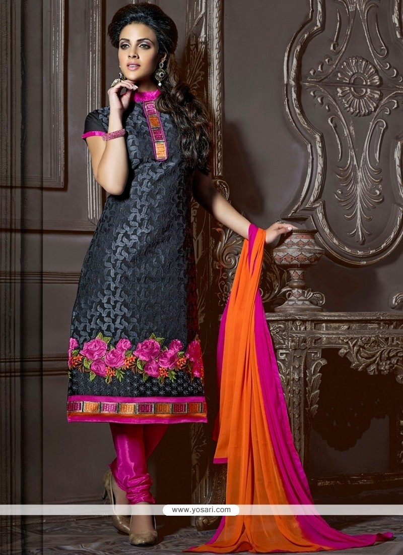 Enthralling Black Chanderi Cotton Churidar Suit