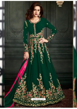 Dark Green Heavy Embroidered Apple Georgette Designer Anarkali Suit
