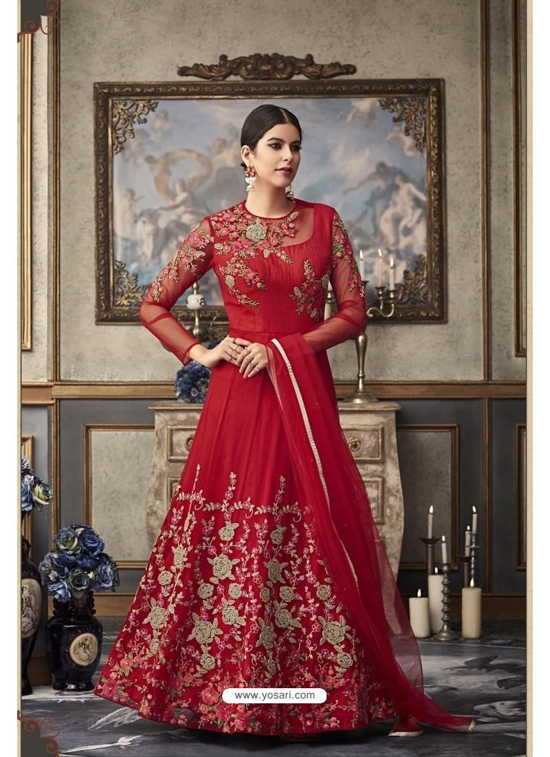Red Heavy Embroidered Designer Net Anarkali Suit