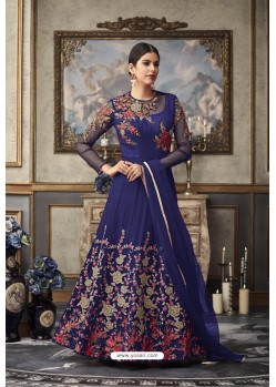 Royal Blue Heavy Embroidered Designer Net Anarkali Suit