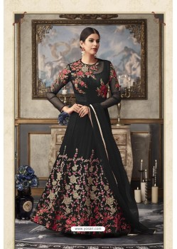 Black Heavy Embroidered Designer Net Anarkali Suit