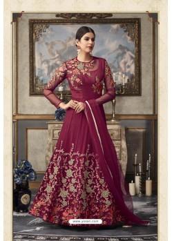 Maroon Heavy Embroidered Designer Net Anarkali Suit