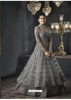 Dull Grey Designer Party Wear Net Gown for Girls