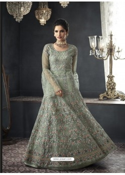 Grayish Green Designer Party Wear Net Gown for Girls